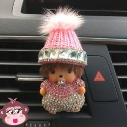 Désodorisant voiture Oh My Monkey bonnet rose