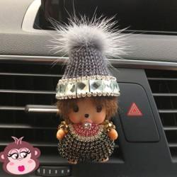 Désodorisant voiture Oh My Monkey bonnet gris