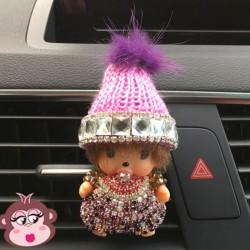Désodorisant voiture Oh My Monkey bonnet mauve