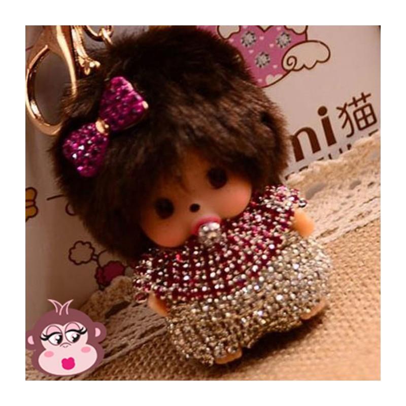 Bijou de sac Oh My Monkey avec noeud rose