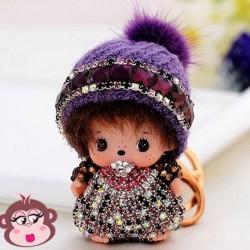 Bijou de sac Oh My Monkey avec Bonnet violet