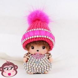 Bijou de sac Oh My Monkey avec Bonnet fushia