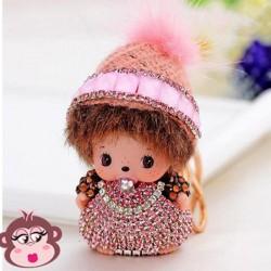Bijou de sac Oh My Monkey avec Bonnet rose